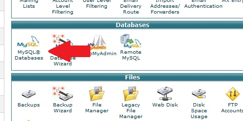 Open the MySQL Databases page within cPanel.