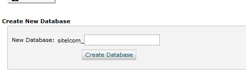 Database creation screen