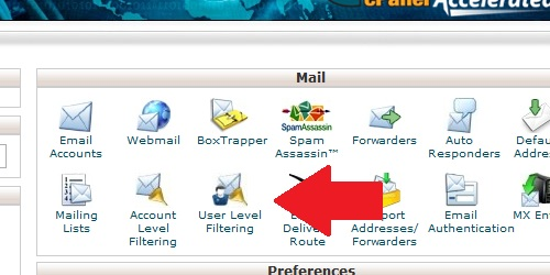 Open the User Level Filtering page within cPanel.