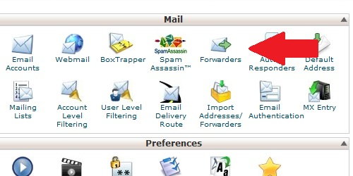 Open the Forwarder page from within cPanel.