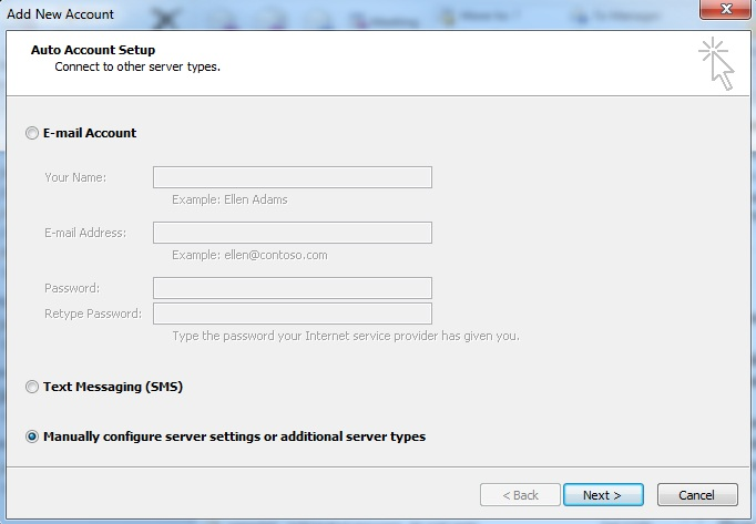 Select the Manually configure option