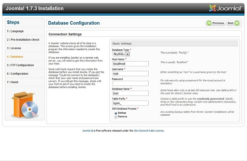 Configure the database.